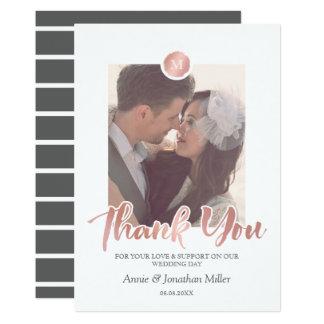 Obrigado cor-de-rosa da foto do casamento do convite 12.7 x 17.78cm