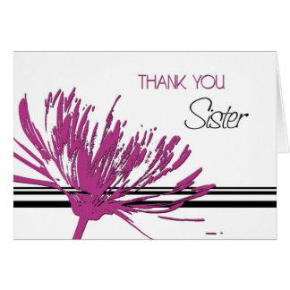 Obrigado cor-de-rosa da irmã da flor você cartão