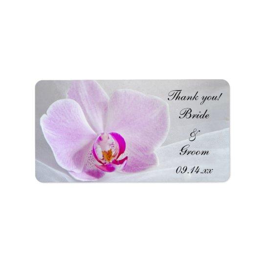 Obrigado cor-de-rosa da orquídea e do casamento do etiqueta de endereço