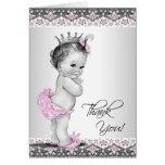 Obrigado cor-de-rosa da princesa chá de fraldas do cartão