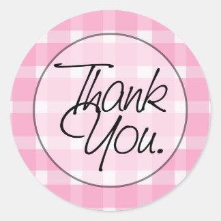 Obrigado cor-de-rosa da xadrez você adesivos