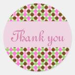 Obrigado cor-de-rosa das bolinhas você selos do en adesivos redondos