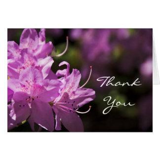 Obrigado cor-de-rosa das flores do rododendro você cartão