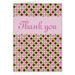 Obrigado cor-de-rosa das meninas das bolinhas você cartões