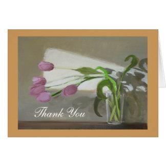 Obrigado cor-de-rosa das tulipas você cartão de