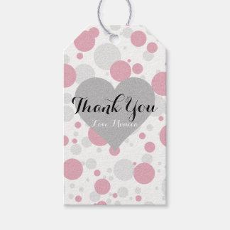 Obrigado cor-de-rosa & de prata do partido das etiqueta para presente