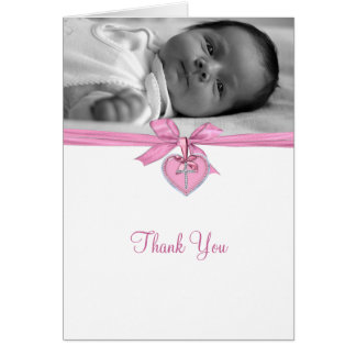 Obrigado cor-de-rosa do batismo da foto do arco cartão de nota