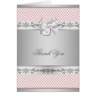 Obrigado cor-de-rosa do batismo do baptismo das me cartão de nota