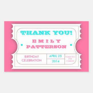 Obrigado cor-de-rosa do carnaval de turquesa você adesivos em forma retangular