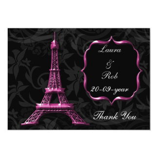obrigado cor-de-rosa do francês da torre Eiffel Convite 12.7 X 17.78cm