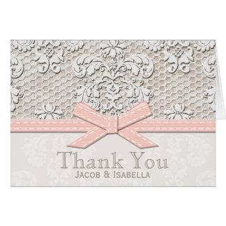 Obrigado cor-de-rosa do laço do vintage você cartõ cartão de nota