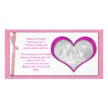 Obrigado cor-de-rosa do quadro do coração você car cartões com fotos personalizados