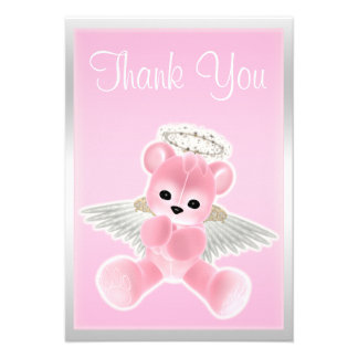 Obrigado cor-de-rosa do urso de ursinho do anjo vo convite personalizado
