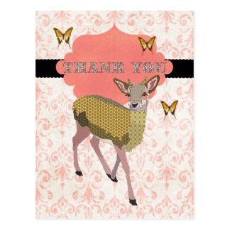 Obrigado cor-de-rosa dos cervos do ouro você cartã cartão postal
