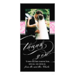 Obrigado cor-de-rosa preto do casamento tema damas cartões com foto