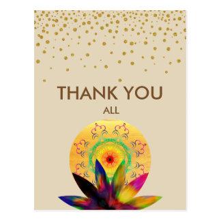 Obrigado da aguarela da flor de Lotus você Cartão Postal