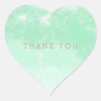Obrigado da aguarela da hortelã você adesivo coração