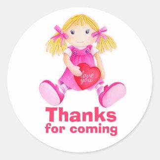 Obrigado da boneca de pano você party a etiqueta adesivo em formato redondo
