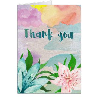 Obrigado da cor de água você cartão