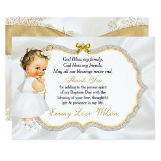 Obrigado da cruz do ouro do baptismo do bebé do convite 8.89 x 12.7cm