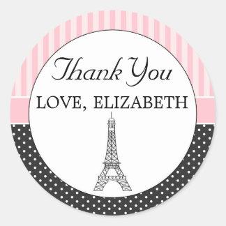 Obrigado da etiqueta do favor da torre Eiffel de