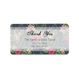Obrigado da família do hibiscus você etiqueta de etiqueta de endereço
