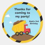 Obrigado da festa de aniversário da construção voc adesivos em formato redondos