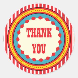 Obrigado da festa de aniversário do carnaval do adesivo redondo