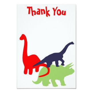 Obrigado da festa de aniversário do dinossauro convite 8.89 x 12.7cm