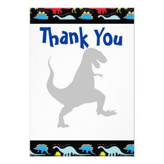 Obrigado da festa de aniversário do dinossauro de  convite personalizados
