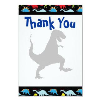 Obrigado da festa de aniversário do dinossauro de convite 8.89 x 12.7cm