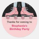 Obrigado da festa de aniversário do skate de rolo adesivo em formato redondo
