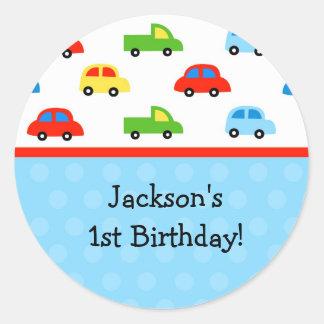 Obrigado da festa de aniversário dos caminhões dos adesivo redondo