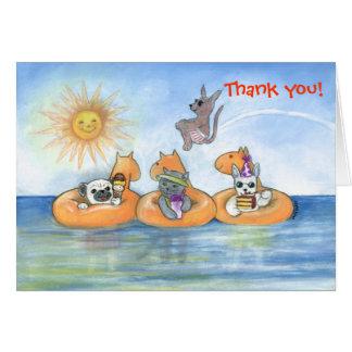 Obrigado da festa na piscina você cartão de nota