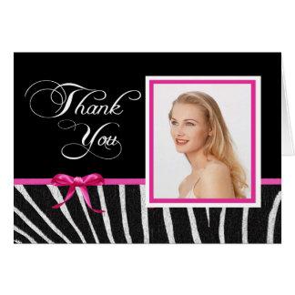 Obrigado da fita da zebra w/Pink você Notecard Cartão De Nota