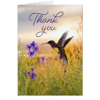 Obrigado da flor do colibri você cartões de nota