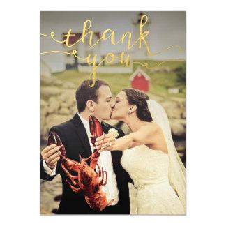 Obrigado da folha de ouro da foto do casamento convite 12.7 x 17.78cm
