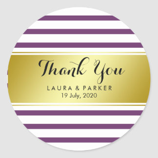 Obrigado da folha de ouro da violeta listrada você adesivo