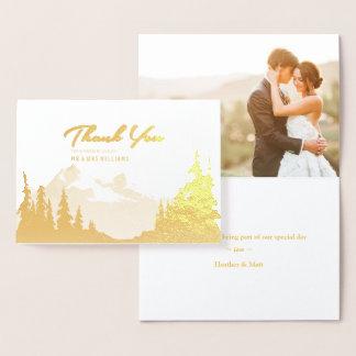 Obrigado da foto do casamento da montanha da folha cartão metalizado