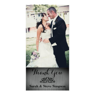 Obrigado da foto do casamento de prata você cartão