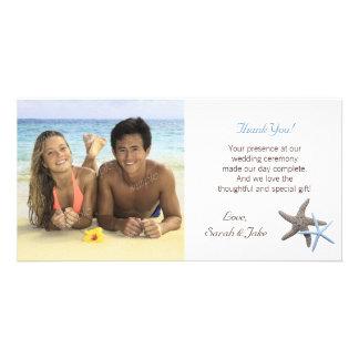 Obrigado da foto do casamento do casal da estrela cartão com foto