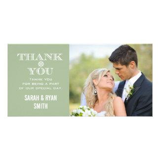 Obrigado da foto do casamento do floco de neve da cartão com foto