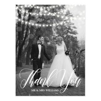 Obrigado da foto do casamento do roteiro das luzes cartão postal