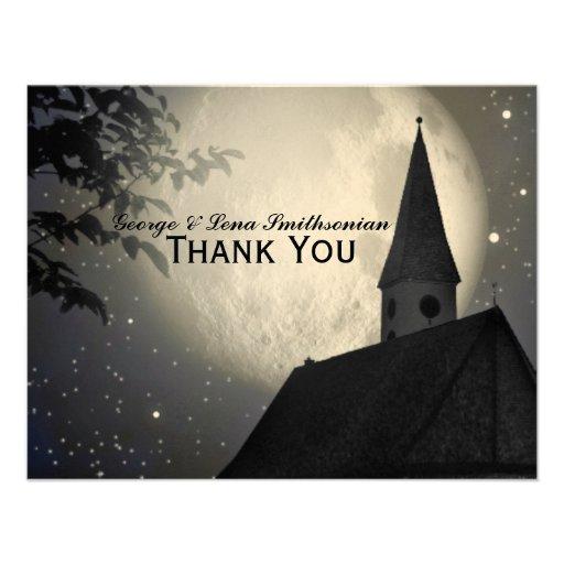 Obrigado da igreja do país da lua da noite você convites personalizado