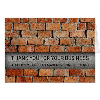 Obrigado da indústria da construção da alvenaria cartão de nota