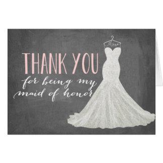 Obrigado da madrinha de casamento você dama de cartão de nota