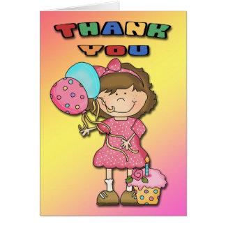 Obrigado da menina da festança do aniversário você cartão de nota