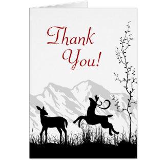 Obrigado da montanha do casal dos cervos da cartão de nota