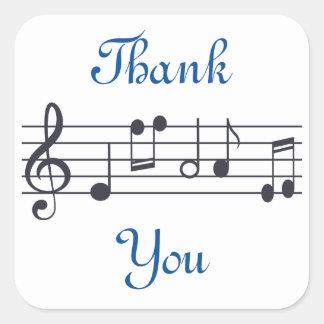 Obrigado da música você etiqueta adesivo quadrado