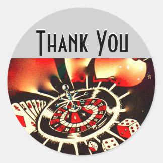 Obrigado da noite do casino você adesivo redondo